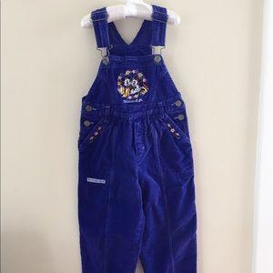 Vintage Mickey & Co Purple Corduroy Overalls Sz 6